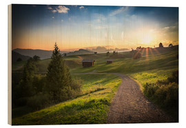 Cuadro de madera  Seiser Alm in the morning, South Tyrol - Frank Fischbach