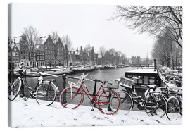 Lienzo  Red bicycle in the snow - George Pachantouris
