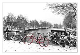 Póster  Red bicycle in the snow - George Pachantouris
