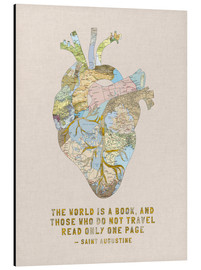 Cuadro de aluminio  A Travelers Heart + Quote - Bianca Green