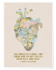 Póster  A Travelers Heart + Quote - Bianca Green