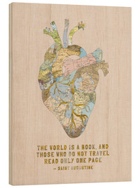 Cuadro de madera  A Travelers Heart + Quote - Bianca Green