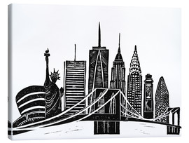 Lienzo  LINOCUT NEW YORK - Bianca Green