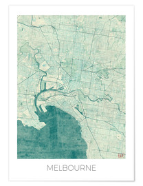 Póster  Melbourne Map Blue - Hubert Roguski