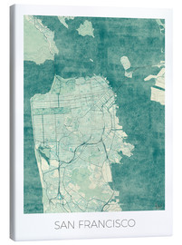 Lienzo  San Francisco Map Blue - Hubert Roguski