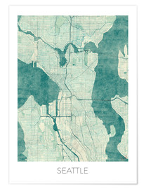 Póster  Seattle Map Blue - Hubert Roguski