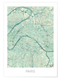 Póster  Paris Map Blue - Hubert Roguski