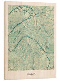 Cuadro de madera  Paris Map Blue - Hubert Roguski