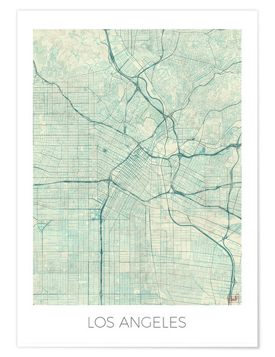 Póster Los Angeles Map Blue