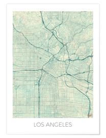 Póster  Los Angeles Map Blue - Hubert Roguski