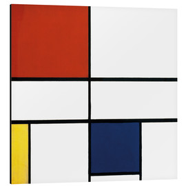 Aluminio-Dibond  composition c no iii with red yellow and blue - Piet Mondrian