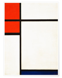 Póster composition with red and blue