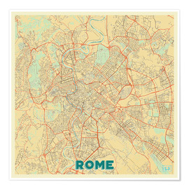 Póster  Rome Map Retro - Hubert Roguski