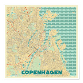 Póster Copenhagen Map Retro