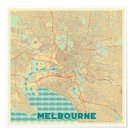 Póster  Melbourne Map Retro - Hubert Roguski