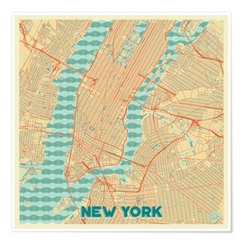 Póster New York Map Retro