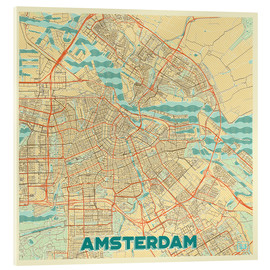 Cuadro de metacrilato  Amsterdam Map Retro - Hubert Roguski