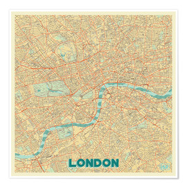 Póster  London Map Retro - Hubert Roguski