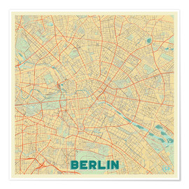 Póster Berlin Map Retro
