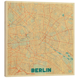 Cuadro de madera  Berlin Map Retro - Hubert Roguski
