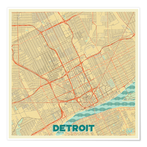 Póster Detroit Map Retro