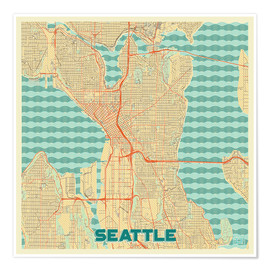 Póster  Seattle Map Retro - Hubert Roguski