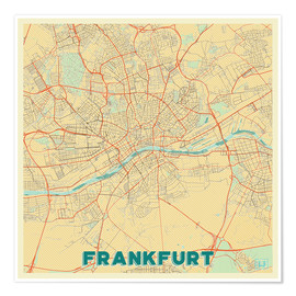 Póster  Frankfurt Map Retro - Hubert Roguski
