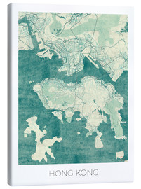 Lienzo  Hong Kong Map Blue - Hubert Roguski
