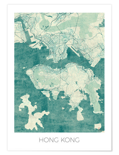 Póster Hong Kong Map Blue