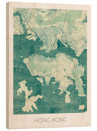 Cuadro de madera  Hong Kong Map Blue - Hubert Roguski