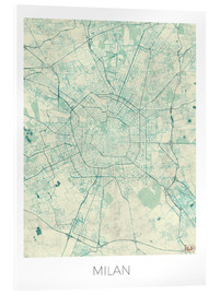Cuadro de metacrilato  Milan Map Blue - Hubert Roguski