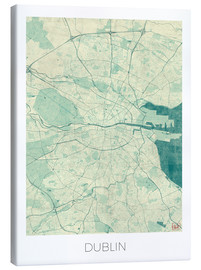 Lienzo  Dublin Map Blue - Hubert Roguski