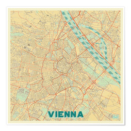 Póster  Vienna Map Retro - Hubert Roguski