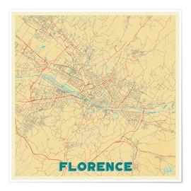 Póster Florence Map Retro