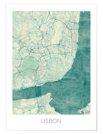 Póster  Lisbon Map Blue - Hubert Roguski