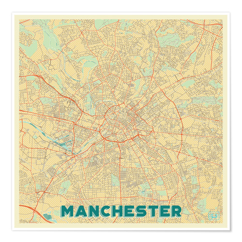 Póster Manchester Map Retro