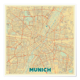 Póster  Munich Map Retro - Hubert Roguski