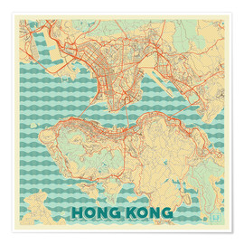 Póster HongKong Map Retro
