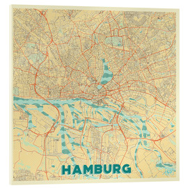 Cuadro de metacrilato  Hamburg, Germany Map Retro - Hubert Roguski
