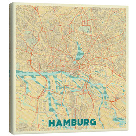 Lienzo  Hamburg, Germany Map Retro - Hubert Roguski