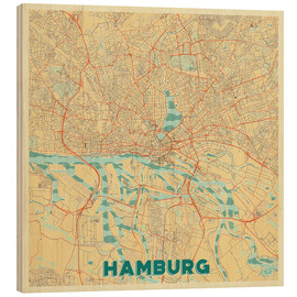 Cuadro de madera  Hamburg, Germany Map Retro - Hubert Roguski
