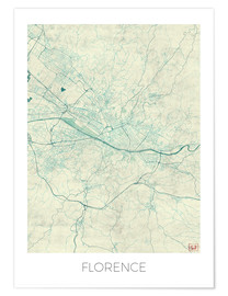 Póster Florence, Italy Map Blue