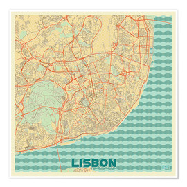 Póster  Lisbon, Portugal Map Retro - Hubert Roguski