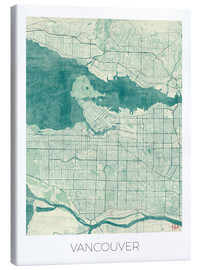 Lienzo  Vancouver, Canada Map Blue - Hubert Roguski