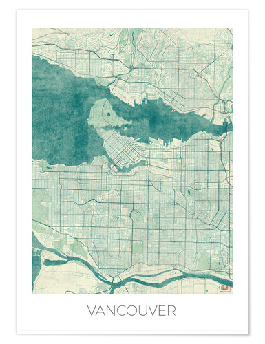 Póster Vancouver, Canada Map Blue