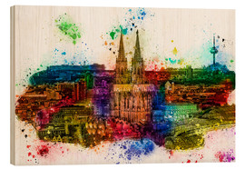 Cuadro de madera  Cologne Skyline Cologne Cathedral - Peter Roder