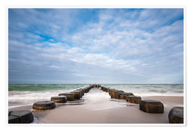 Póster Groyne on shore of the Baltic Sea
