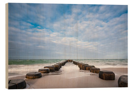 Cuadro de madera  Groyne on shore of the Baltic Sea - Rico Ködder