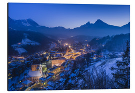 Cuadro de aluminio  View of the town in the evening on Jenner and Watzmann - Udo Siebig