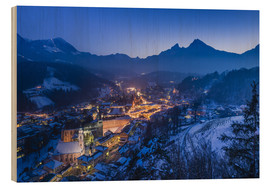 Cuadro de madera  View of the town in the evening on Jenner and Watzmann - Udo Siebig